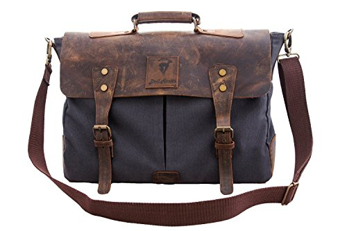Devil Hunter Genuine Leather Vintage 18″ Laptop Canvas Messenger Satchel Briefcase Bag Grey 18″(L)x13″(H) x 4″(W)