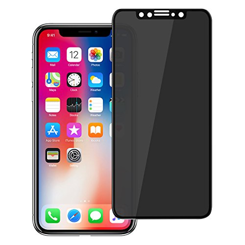 Protector Black Phone - Pueryin iPhone X Privacy Screen Protector, iPhone X Premium [3D Curved] [Case Friendly] [Anti-Scratch] 9H Hardness Tempered Glass Film Screen Protector for Apple iPhone X/XS (Black)