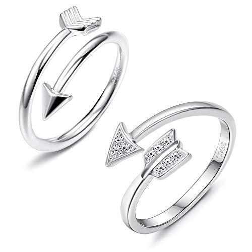 Sllaiss Set with Swarovski Zirconia Open Arrow Ring 925 Sterling Silver Open Adjustable Love Arrow Ring for Girls Women