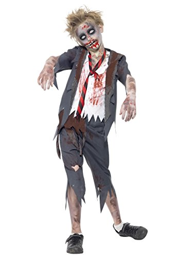 Smiffys Children's Zombie School Boy Costume, Trousers, Jacket, Mock Shirt and Tie, Serious Fun, Ages 10-12, Size: Large, 43022L -