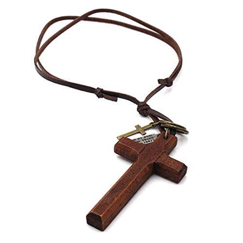 LNKRE JEWELRY Cross Necklace for Men with Leather Chain Vintage Look Wood Necklace-2 ()