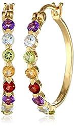 18k Yellow Gold Plated Sterling Silver Multi-Gemstone Hoop Earrings