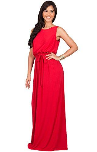KOH KOH® La Mujer Vestido maxi largo sin mangas de fiesta coctel Rojo