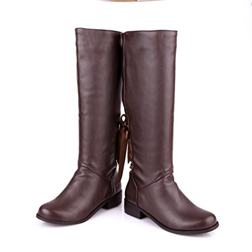 Boots AmoonyFashionWomens and B PU Toe Heels 5 US Solid with Bowknot Low Heels Round M Brown Chunky Closed Cfrqx0SC