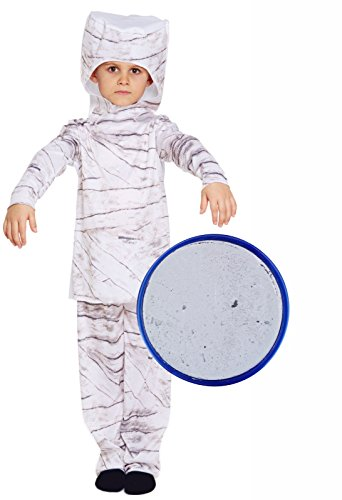 Boys Girls Childs Mummy Halloween Costume Outfit With Grey Face Paint Age (Child Mummy Ghost Face Costumes)
