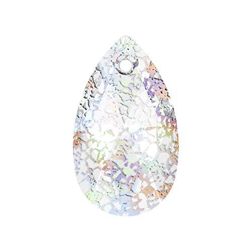 (Swarovski Crystal, 6106 Pear Pendant 16mm, 2 Pieces, Crystal White Patina)