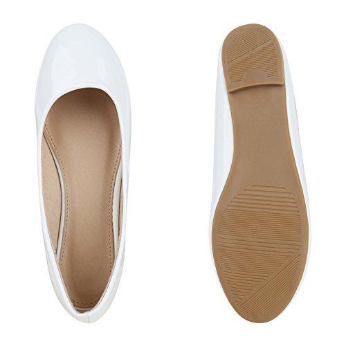 Stiefelparadies Damen Ballerina Schuhe Klassische Ballerinas Lack Glitzer Slipper Flats Velours Metallic Schuhe Leder-Optik Slip Ons Übergößen Flandell Weiß Nude