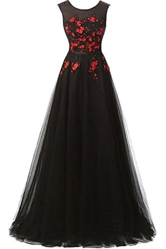 Rundkragen A Damen Abendkleid Festkleid Applikation Ivydressing Schwarz Linie Promkleid RqpxwBxfn