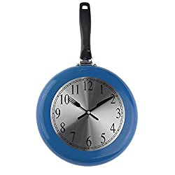 Wall Clock, 10 inch Metal Frying Pan Kitchen Wall Clock Home Decor - Kitchen Themed Unique Wall Clock with a Screwdriver (Blue)