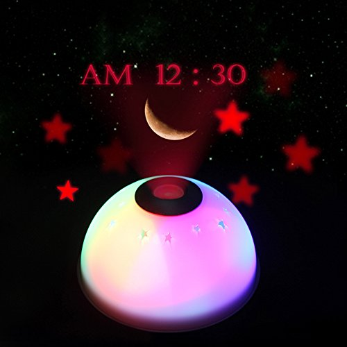 Sealive Moon Stars Magic Projection Night LED Color Change Silent Digital Alarm Clock for Bedroom