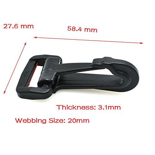 (5pcs Plastic Snap Hooks Rocker Style Black (3/4