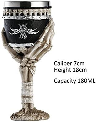 Copa de vino de calavera con esqueleto pintado a mano, ideal para Halloween, fiestas temáticas de piratas, copas de whisky vodka, figuras de calavera, 2-180 ml