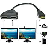 Jambuwala Enterprise™ 1080p Hdmi Male to Dual Hdmi Female 1 to 2 Way Hdmi Splitter Cable Adapter Converter for DVD Plays/PS3/HDTV, LCD Monitor and Projectors, Signal One in, Two Out (Black)