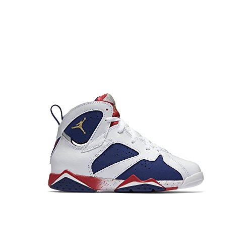 Jordan Air 7 Retro PS Olympic Tinker Alternate Little Kid's Shoes White/Deep Royal Blue/Fire Red/Metallic Gold Coin 304773-133 (12.5 M US)