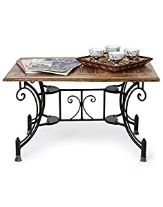 Onlineshoppee® Solid Wood & Wrought Iron Coffee Table