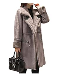Abetteric Women's Winter Thicken Faux Suede Mid Long Fleece Trench Coat Jacket