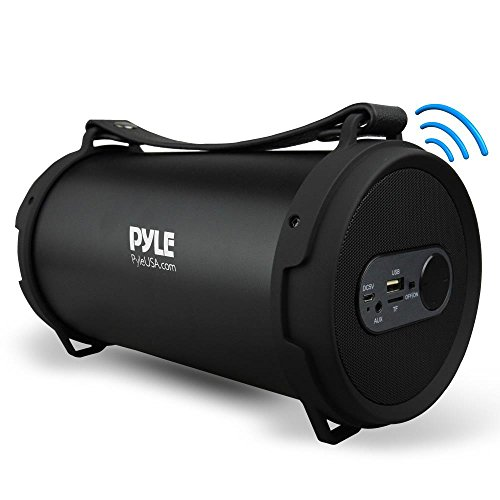 Pyle Portable Speaker, Boombox, Bluetooth Speakers, Rechargeable Battery, Surround Sound, Digital Sound Amplifier, USB/SD/FM Radio, Wireless Hi-Fi Active Stereo Speaker System in Black -