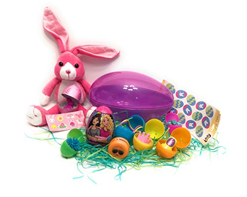 Surprise Eggs | Easter Eggs with Surprise Inside | 19 Pcs Pre Filled Violet Jumbo Plastic Egg for Girls | Include Stuffed Bunny, 6 Eggs with Toys Inside, 1 Barbie ()