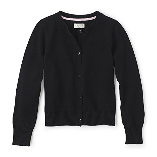 The Children's Place Big Girls' Uniform Cardigan Sweater, Black 44422, Medium/7/8