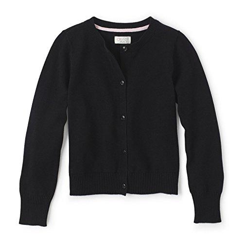 The Children's Place Little Girls' Uniform Cardigan Sweater, Black 44422, (Girl Places Kids Sweatshirt)