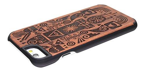 Landto PC y la caja de madera ultra delgado de la cubierta de protección del teléfono para el iPhone / iPhone 6 6s Tótem