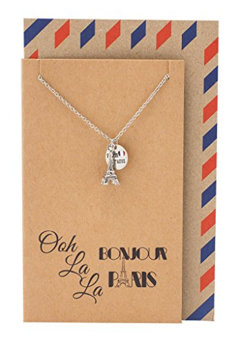 a4accb082 Quan Jewelry Eiffel Tower Travel Necklace, Gifts for Travelers, Bonjour  Paris Inspirational Card,