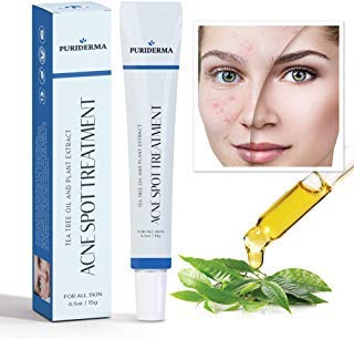 Puriderma Acne Spot Treatment for Acne Prone Skin, Mild, Moderate, Severe, Cystic Acne - Premium Tea Tree Oil, Plant Extracts & Vitamin E, Prevent Future Breakouts, Extra Strength & All Natural (15 ml (Treatment Adult Cream Acne)