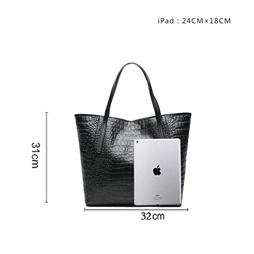 Casual Bag Genuine Capacity Large Bag Cow Leather Single Black Shoulder Leather Pure Sansji Fashion Ladies' Color Handbag wY7tdqx