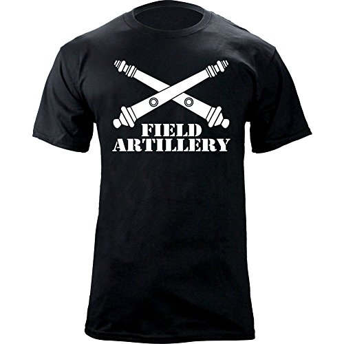 USAMM Army Field Artillery Branch Insignia Crossed Cannons Veteran Graphic T-Shirt (S, Black) ()