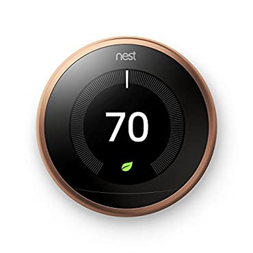 Google T3021US Nest Learning Thermostat, 3rd Gen, Smart Thermostat, Copper, Works With Alexa