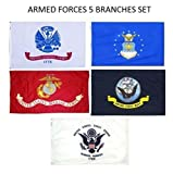 5 Branches Military Set (5 Pack) EGA Marines Navy Air Force Coast Guard Army Armed Forces Combo 3×5 3'x5′ Flags Premium Quality Polyester Fade Resistant Durable Double Stitched Fly End