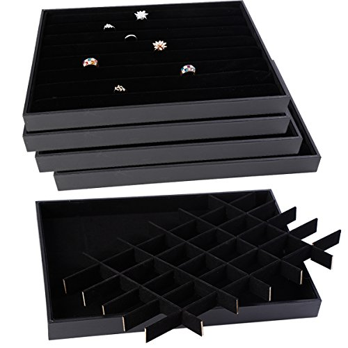 Soaptree Velvet 36 Grid Jewelry Tray Stackable Showcase Display Organizer ,1 Piece (36 Grid Jewelry Tray)