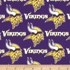 NFL Minnesota Vikings Cotton Fabric, Purple & Gold - Sold By the (Minnesota Vikings Fabric)