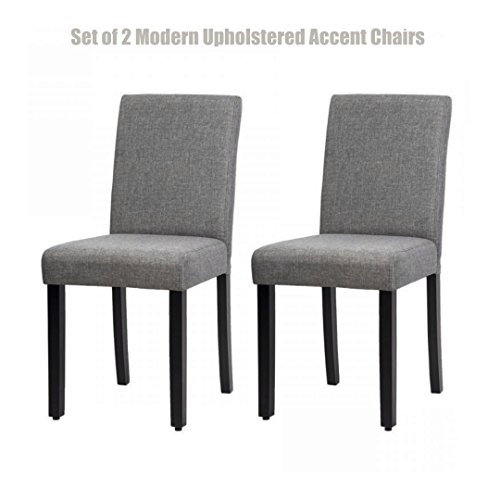 Modern Design Upholstered Dining Chairs Sturdy Wood Frame Breathable Linen Fabric Seat Comfortable High Density Padded Cushion Home Kitchen Office Furniture - Set of 2 - Outlet Uk Manchester