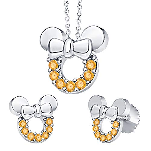 tusakha Minnie Mouse Bow Pendant Necklace Earrings Set Citrine .925 Sterling Silver for Womes Girls ()