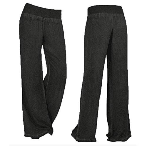 Fashion Mode Pantalons Taille Taille Loisirs Jeans Vintage Unie Jeans lastique Pantalon Grande Large Palazzo Pantalons Chic Elgante Dames Femme Blanc Large De Couleur twxXxzq8A