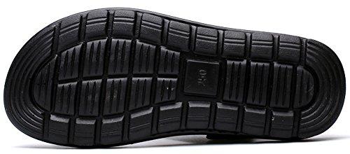 Vocni Mens Bout Ouvert Décontracté Cuir Confort Chaussures Sandales Taille 6 - Taille 11 Noir