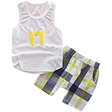 Amanod Newborn Infant Baby Sleeveless T-shirt Plaid Tops Pants Outfits Clothes Sets