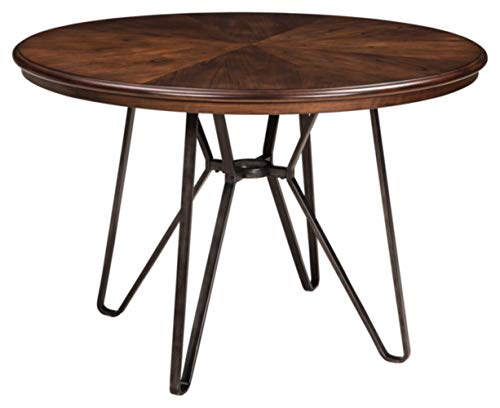 Signature Design by Ashley - Centiar Dining Room Table - Mid Century Modern Style - Round - Rustic Brown