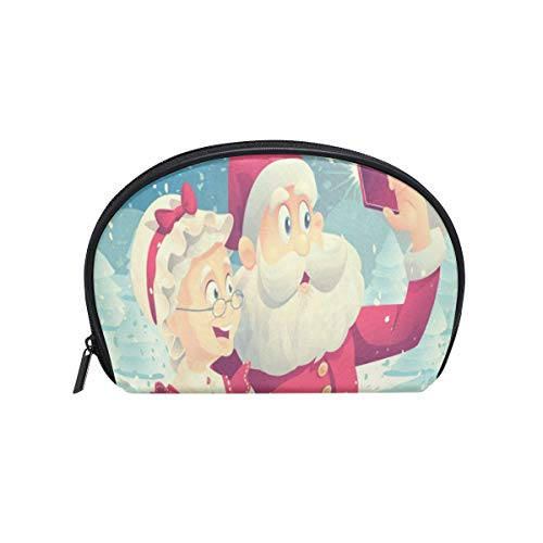 Makeup Bag Santa Claus And Mrs Girls Travel Cosmetic Bag Womens Toiletry Organizer