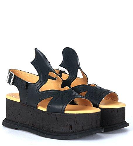 Sandalia MM6 Maison Margiela en piel negra pespuntada Negro