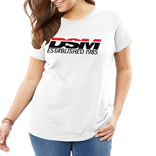 Diamond Star Motors Established 1985 Women's Cotton Loose Crew Neck Plus-Size Short Sleeve Extra Large T Shirt White