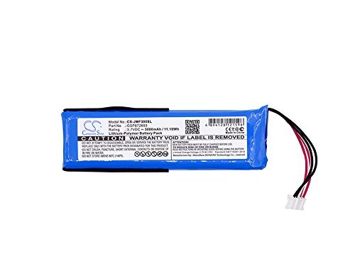 Cameron Sino 3000mAh Li-Polymer Battery For JBL Flip 3, JBLFLIP3GRAY, fits JBL GSP872693