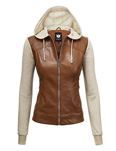 Camel Leather Jacket - Lock and Love LL WJC1347 Womens Faux Leather Zip Up Moto Biker Jacket with Hoodie M Camel_Oatmeal