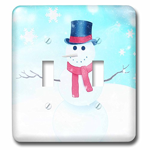 Holiday Color Photo (3dRose Doreen Erhardt Christmas Collection - Watercolor Snowman with Blue and White with Snowflakes Holiday - Light Switch Covers - double toggle switch (lsp_266768_2))