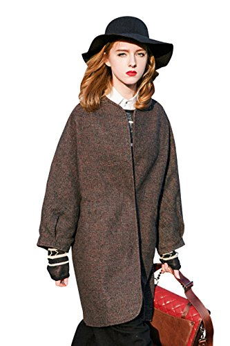 You.U Nuevo abrigo de lana de las mujeres con la manga del raglán para los bolsillos laterales del otoño / del invierno Borgoña