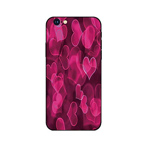 Phone Case Compatible with iphone6 iphone6s mobile phone covers phone shell Brandnew Tempered Glass Backplane,Hot Pink,Cute Sweet Heart Shapes on Blurry Background Romantic Valentines Day Design Decor ()