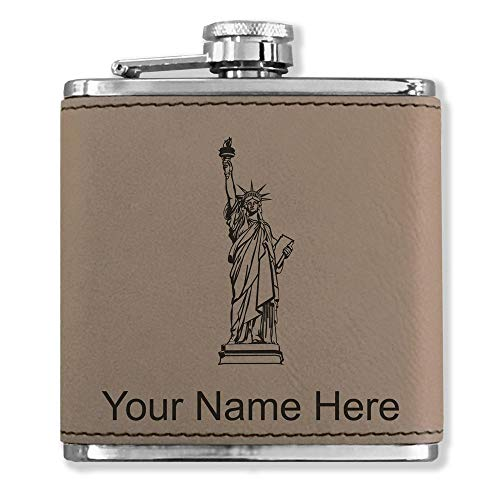 Faux Leather Flask, Statue of Liberty, Personalized Engraving Included (Light Brown)