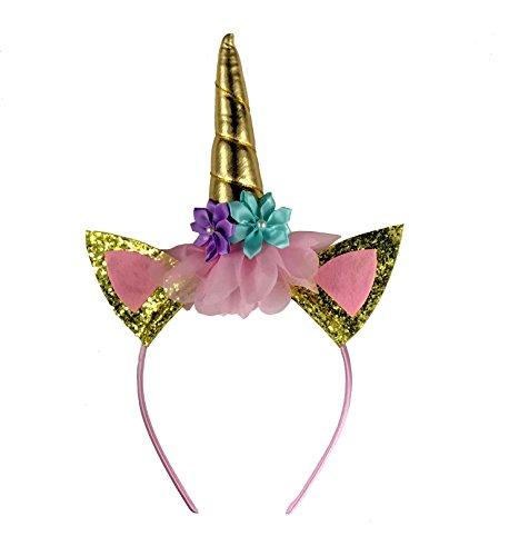 Unicorn Headwear Cat Ear for Children Girl Kid Adults Fancy Dress Party Halloween Headband Party Accessories (GoldFlower)