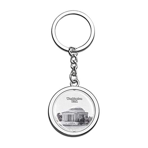 USA Thomas Jefferson Memorial Washington Sketch Keychain 3D Crystal Spinning Round Stainless Steel Keychains Travel City Souvenirs Key Chain Ring]()